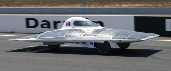 The Durham team's car whizzes around the track