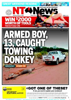 The front page of today's newstastic NT News
