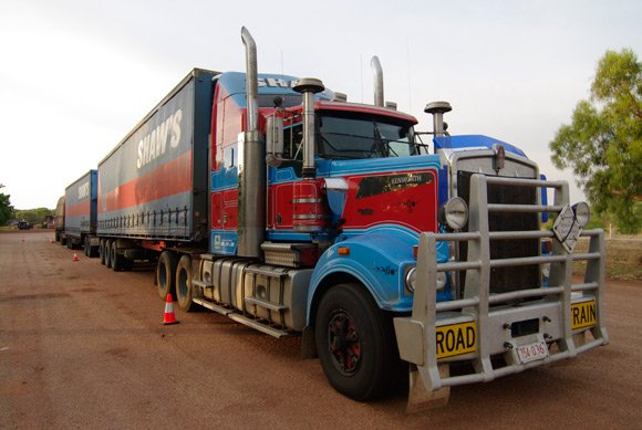 A road train parked up at Dunmarra