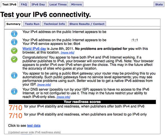 Test your IPv6 connectivity.
