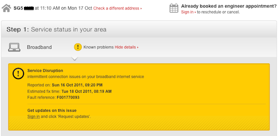 Virgin media status problem, screengrab from Virgin media site