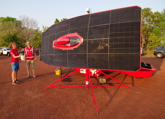 solar car basking in the evening sunshine