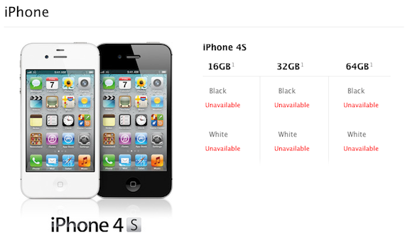 Apple 4S unavailable, screengrab of Apple website