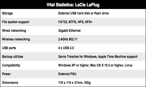 LaCie LaPlug networked storage specs