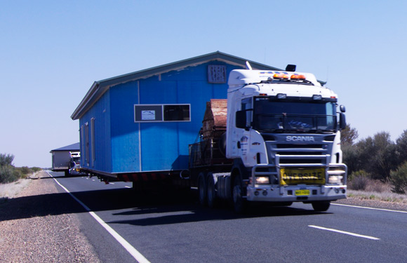 Building on the back of a trailer on Oz's Stuart Highway