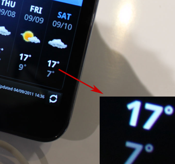 Samsung Galaxy Nexus display close-up