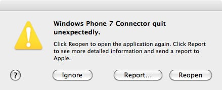 Windows Phone Connector for Mac crash