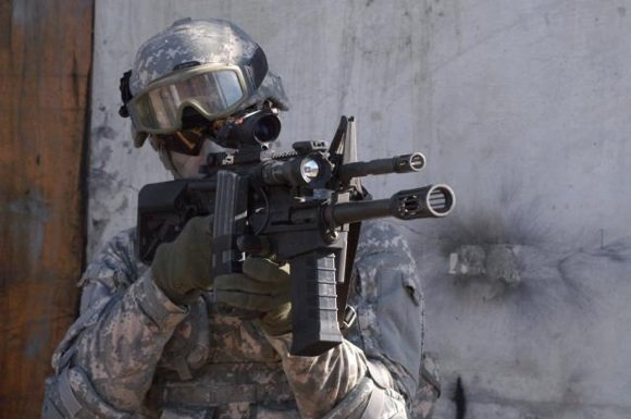 The Modular Accessory Shotgun System fitted to the M16 rifle. Credit: US Army