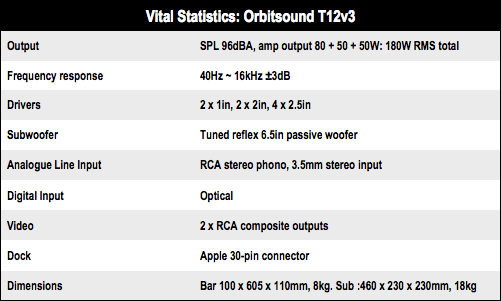 Orbitsound T12v3 soundbar