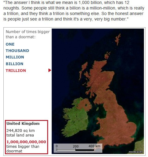 BBC graphic showing area of UK, equivalent to 1 trillion doormats