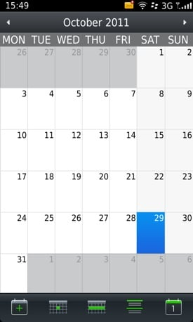BlackBerry's calendar view