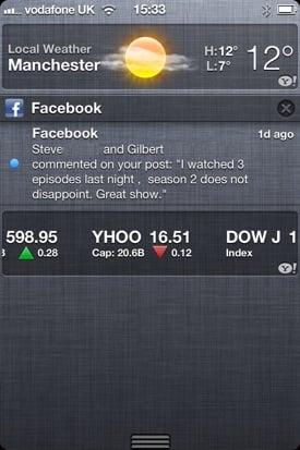 iOS 5 notification area