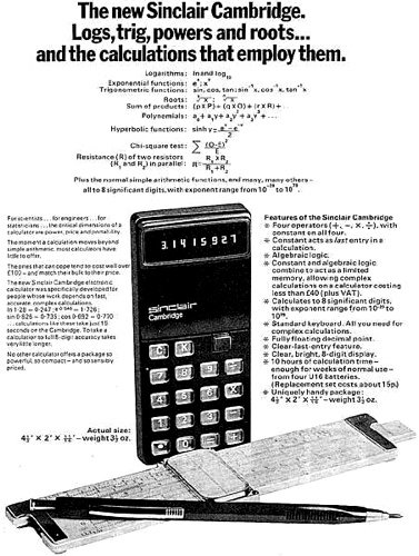 Sinclair Radionics Cambridge calculator