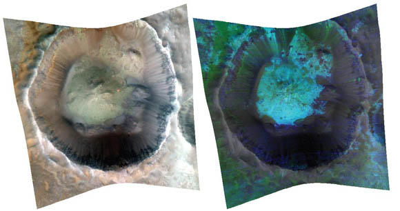 Martian crater in true color and false-color infrared images