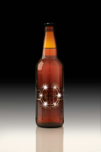 Lights embedded in beer-bottle label
