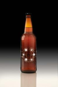 Lights embedded in beer-bottle label