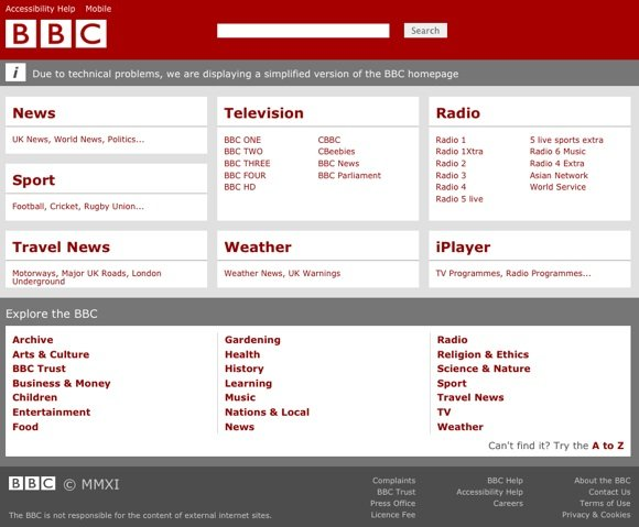 Screenshot of the BBC homepage at 13:42 Fri Nov 4 2011