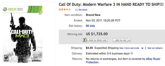 Modern Warfare 3 eBay bid