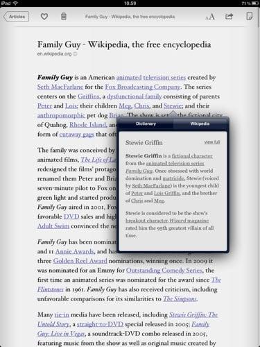 Instapaper iOS app screenshot iPad