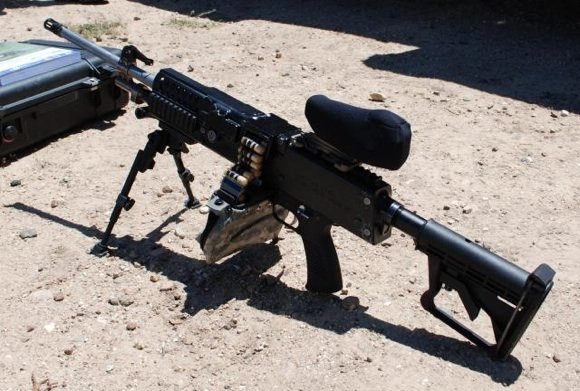 The new Lightweight Small Arms Technologies light machine gun (LSAT LMG) with cased telesc