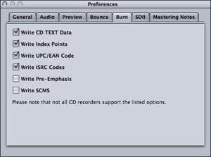 Apple Waveburner mastering preferences