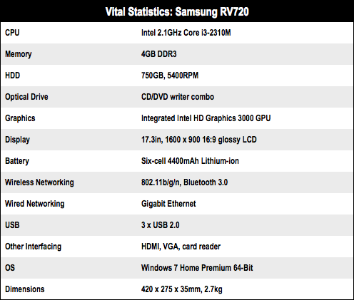 Samsung RV720 17in Core i3 notebook