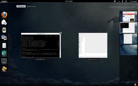 Fedora 16 Workspace Switcher