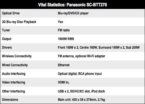Panasonic SC-BTT270 5.1 Blu-ray home theatre