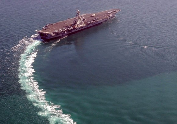 Nov 11, 2011: USS George H.W. Bush (CVN 77) transits the Arabian Gulf in support of Operations Enduring Freedom and New Dawn. Credit: US Navy/Mass Communication Specialist 3rd Class Kasey Krall