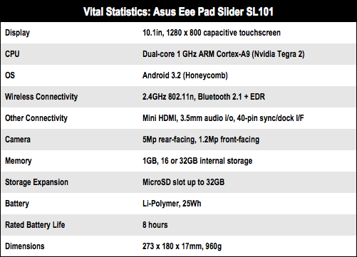 Asus Eee Pad Slider SL101 Android tablet