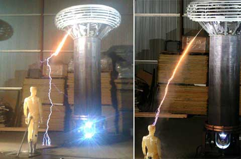 The Mythbuster team tesla coil