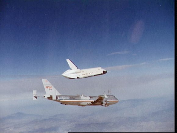 Orbiter Enterprise launches from the back of a carrier jumbo during 1970s test fl