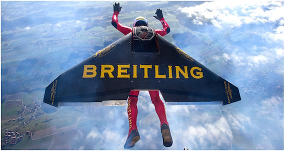 Jet man flying, credit Breitling