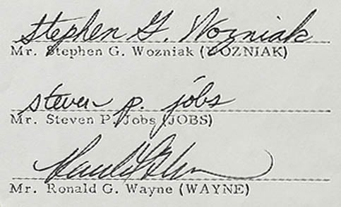 Wozniak, Jobs, and Wayne's signatures on Apple's founding contract