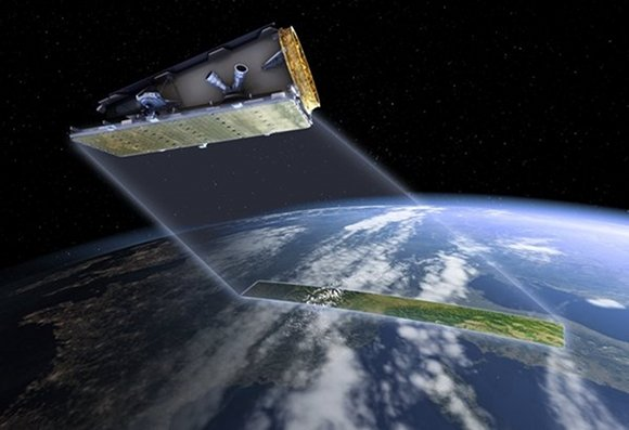 Artist's impression of a NovaSAR satellite over Earth