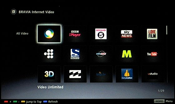 Smart TVs Video on Demand on the Sony
