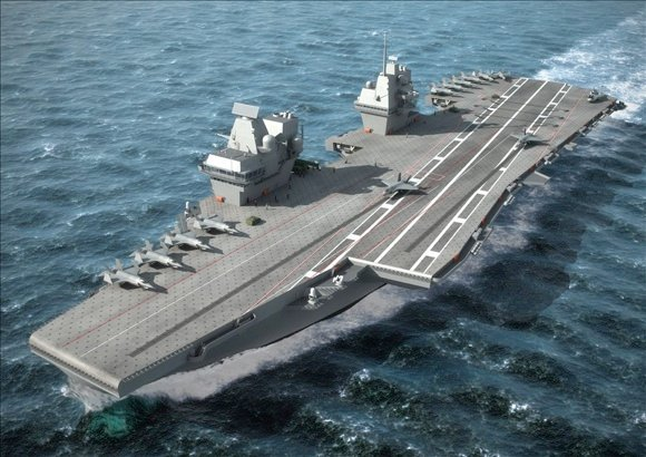 Builders' concept art of the CATOBAR variant carrier for the UK. Credit: Aircraft Carrier Alliance
