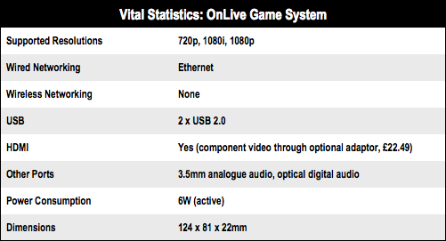 OnLive cloud gaming system specs