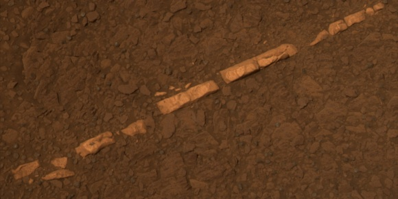 The 'Homestake' gypsum vein on Mars, imaged by rover Opportunity. Credit: NASA/JPL-Caltech/Cornell/ASU