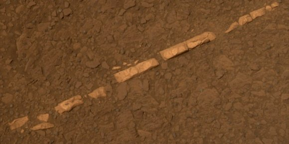 The 'Homestake' gypsum vein on Mars, imaged by rover Opportunity. Credit: