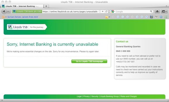 Service unavailable screen, online banking Lloyds TSB