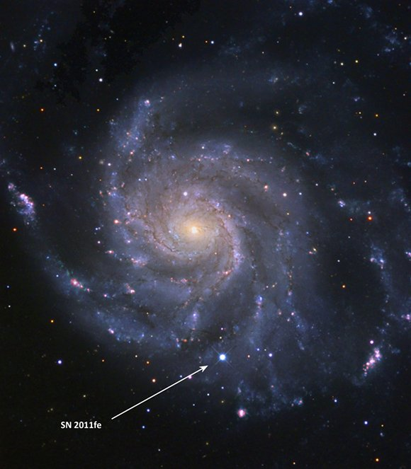 The Palomar Transient Factory caught SN 2011fe in the Pinwheel Galaxy in the vicinity of the Big Dipper on 24 August, 2011