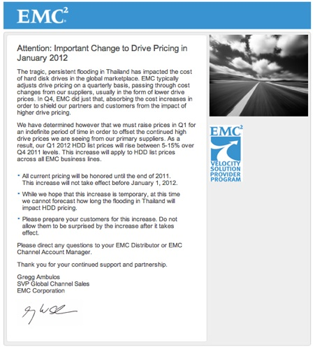 EMC HDD price rise letter