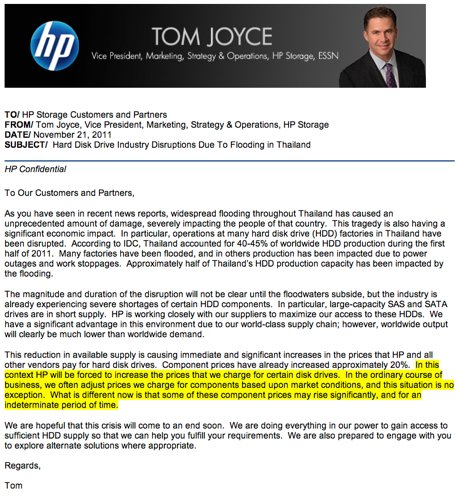 HP disk price rise letter