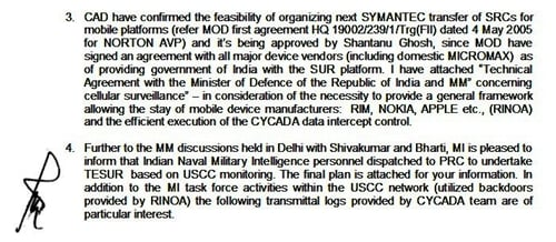 Claimed Indian smartphone spying memo
