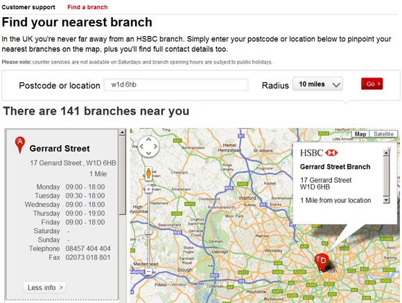 Distance to Gerrard Street branch of HSBC now 1 mile