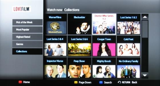 Lovefilm streaming service screenshot on Samsung