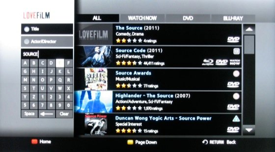 Lovefilm streaming service screenshot on Samsung