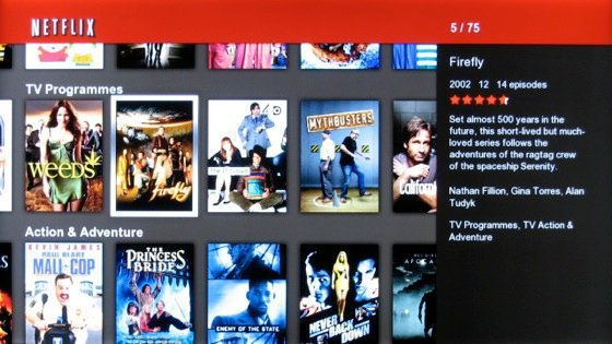 Netflix streaming service screenshot on Samsung