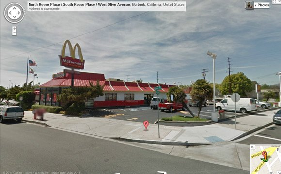 The Burbank McDonald's seen on Street View